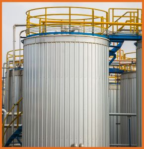 Chemical tank with insulation in industrial factory